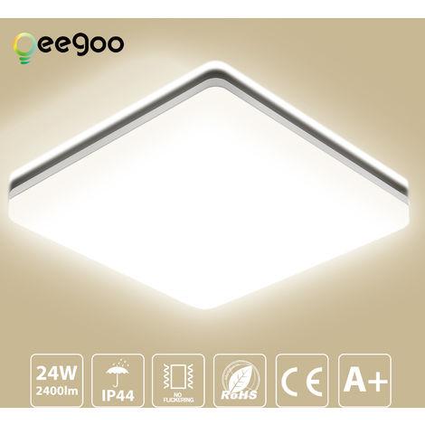 Oeegoo LED Deckenlampe Bad, 24W IP44 Wasserfest Badleuchte Badezimmerlampe 2400lm Neutralweiß 4000K, Flimmerfreie Deckenleuchte Wohnzimmerlampe 33x33x4.8cm