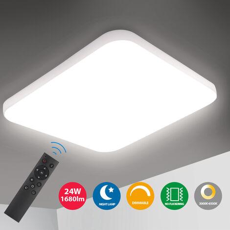 Oeegoo LED Deckenleuchte Dimmbar, 24W 1680Lm led Deckenlampe dimmbar, Lichtfarbe und Helligkeit dimmbar mit Fernbedienung, Flimmerfreie Wohnzimmerlampe für Schlafzimmer Kinderzimmer