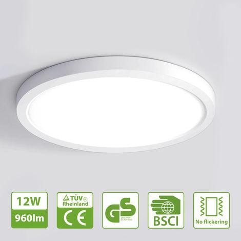 Oeegoo LED Deckenleuchte Rund, 12W Flimmerfreie Deckenlampe ...