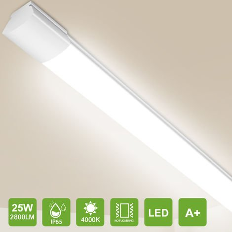 Oeegoo LED Tube light 120cm, 25W 2800lm (110 Lm/W) LED Ceiling Light, IP65 Waterproof lamps for Bathroom Kitchen Workshop Office, Natural Light 4000K