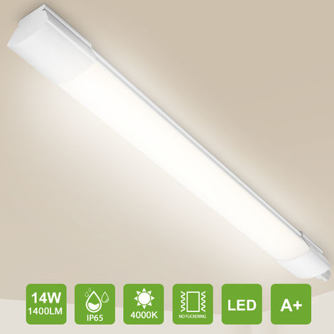Oeegoo LED Tube light 60cm, 14W 1400lm (100 Lm/W) LED Ceiling Light, IP65 Waterproof lamps for Bathroom Kitchen Workshop Office, Natural Light 4000K