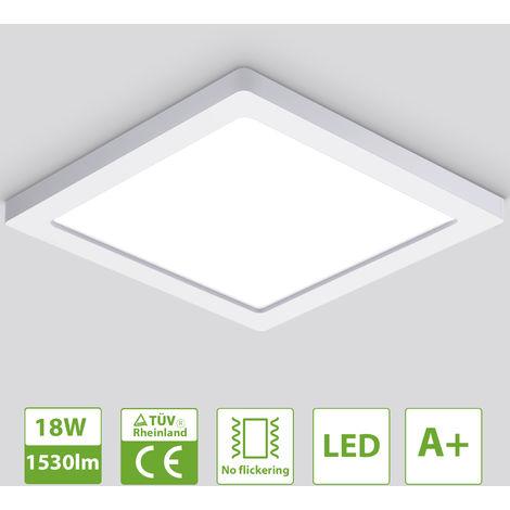 Oeegoo Luz de techo LED ultra delgada de 13 mm, luz de techo de 18 vatios 1530 LM, lámpara de techo empotrada, luz de techo cuadrada 21.5 x 1.3 CM para dormitorio, oficina, pasillo, sala de cocina, blanco neutro 4000K