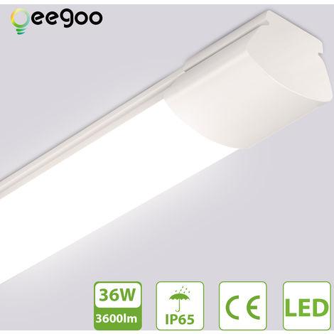 Oeegoo Tubo de luz LED 150CM, 36W 3600 LM Potente luz de techo, tira de luz LED, resistente al agua IP65, iluminación de la lámpara de techo para taller, garaje, oficina, estacionamiento, bodega, luz blanca neutra 4000K
