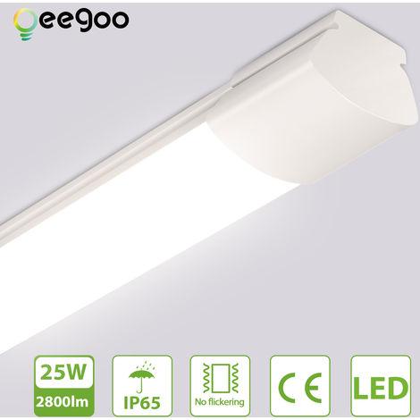 Oeegoo Tubo LED 120CM, 25W luz de techo de iluminación potente, resistente al agua IP65, 2800LM tira de luz LED, lámpara de techo para taller, garaje, oficina, terraza, bodega, luz blanca neutra 4000K