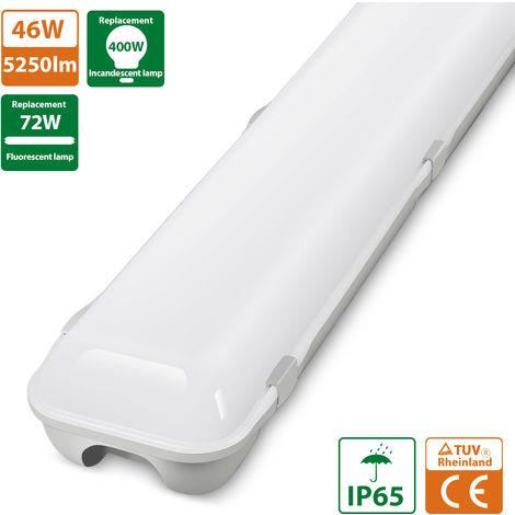Oeegoo Tubo LED de 120 cm, 46W 5250 LM Potente iluminación LED, luz de techo impermeable IP65, tira de luz LED, lámpara de pared para taller, oficina, garaje, terraza, bodega, sótano, blanco neutro 4000K