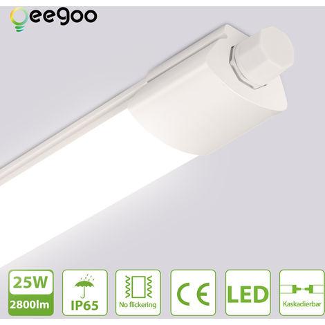 Oeegoo Tubo LED de 120CM, 25W luz de techo de iluminación potente, resistente al agua IP65, 2800LM, conexión de tira de LED en serie, lámpara de techo para taller, garaje, oficina, terraza, bodega, blanco neutro 4000K