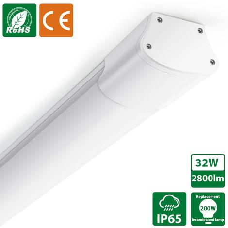 Oeegoo Tubo LED de 32 W 120 cm, lámpara de techo impermeable IP65, tira de LED 2800LM, iluminación potente para garaje, taller, oficina, cocina, piscina, bodega, luz de pared blanca neutra 4000K