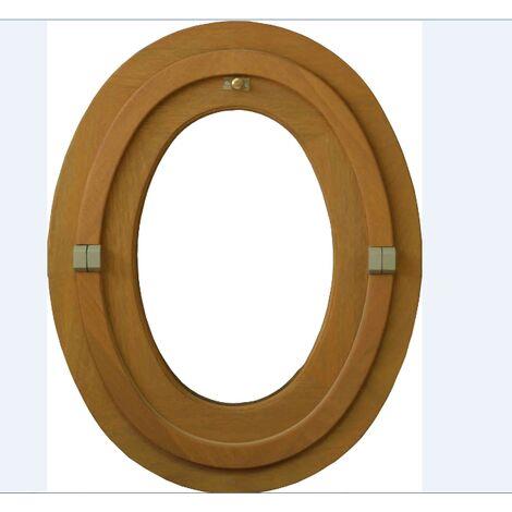 Œil de bœuf ovale 1 vantail - H.65 x L.50 cm - Bois exotique