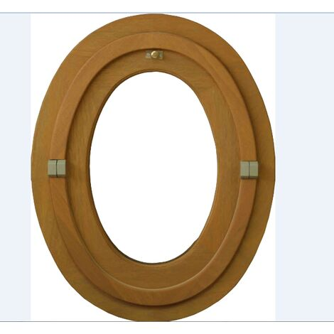 Œil de bœuf ovale 1 vantail - H.90 x L.60 cm - Bois exotique
