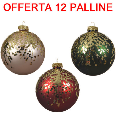 Immagini Natale Glitter.Offerta 12 Palline Di Natale 8cm Perla Verde Pino Rosso Con Glitter Assortita