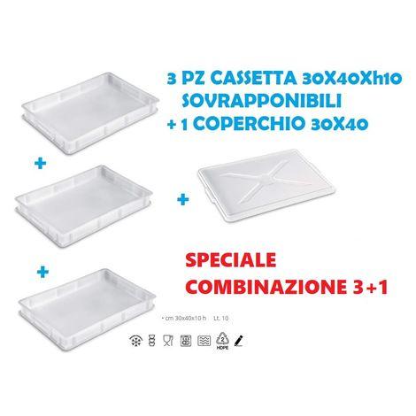 """main image of """"OFFERTA 3 CASSETTE PORTAIMPASTO 1 COPERCHIO 30X40X10 CONTENITORE IMPASTO PIZZA"""""""