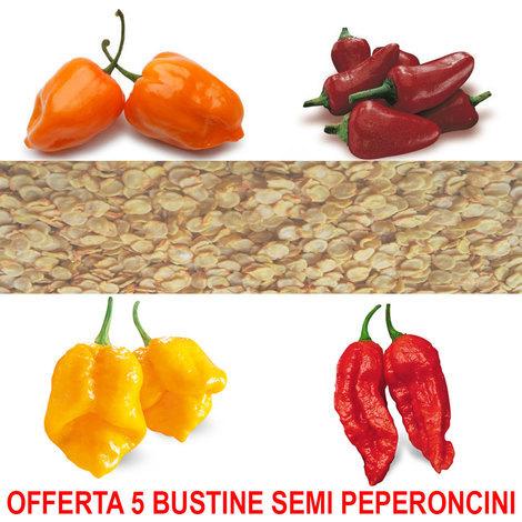 """main image of """"OFFERTA 5 BUSTINE SEMI DI PEPERONCINI BLUMEN A SCELTA HABANERO NAGA MORICH PICCANTE CALABRESE"""""""