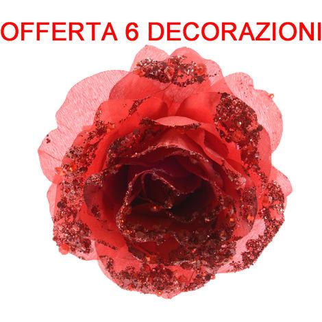 Immagini Natale Glitter.Offerta 6 Pz Rosa Appendibile Con Clip 14cm Con Glitter Rosso Natale