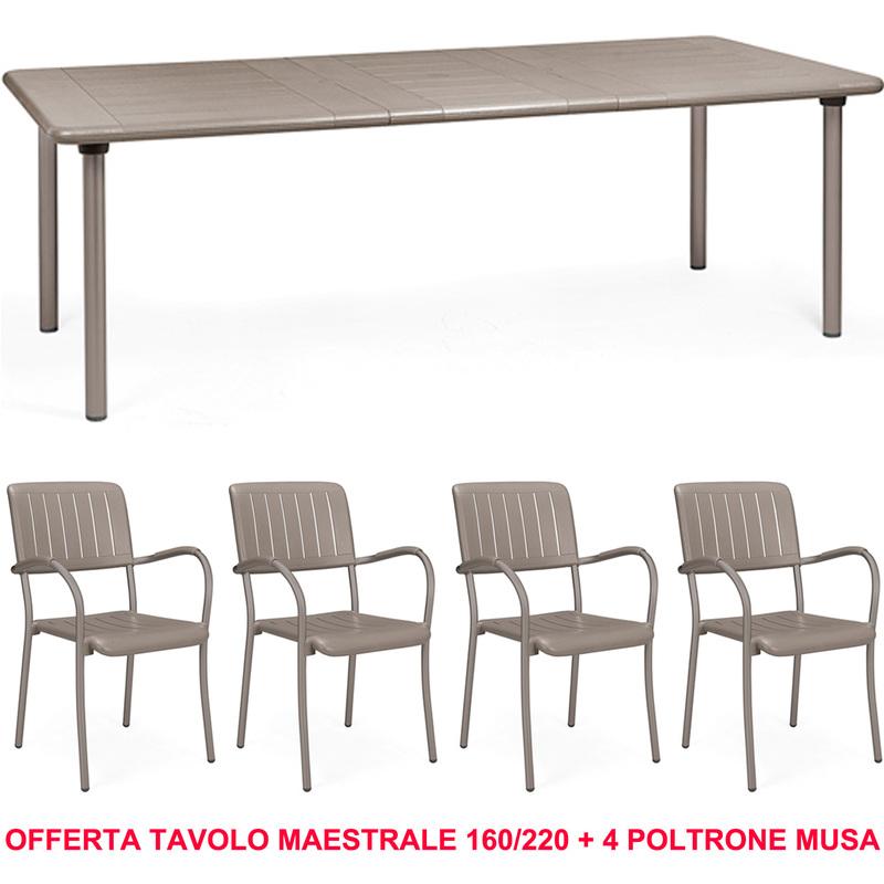 OFFERTA TAVOLO MAESTRALE 160220CM ESTENSIBILE + 4 POLTRONE MUSA COLORE A SCELTA