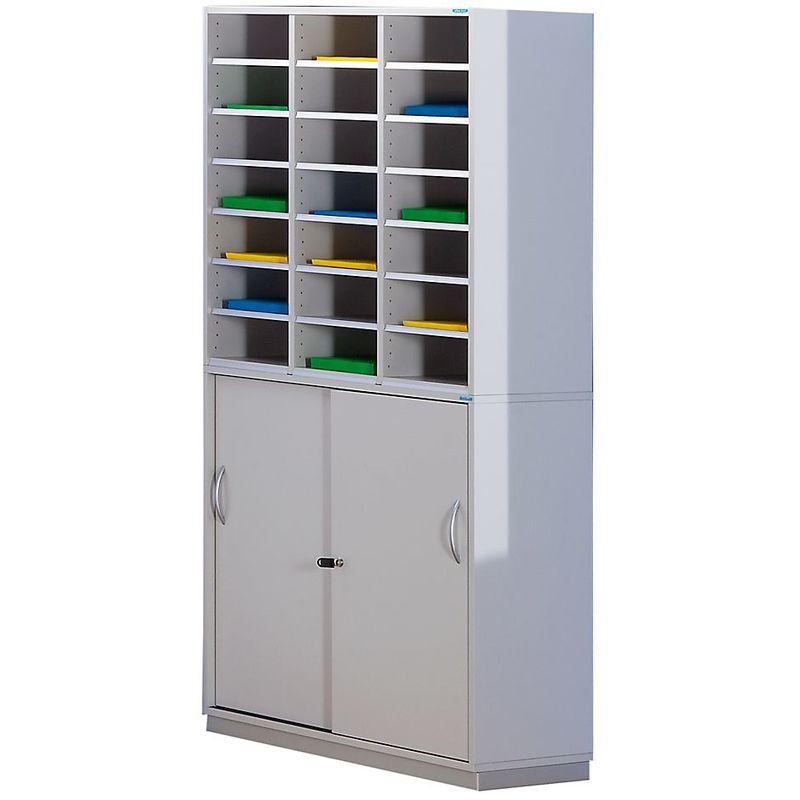 Certeo - OFFICE AKKTIV Armoire de tri avec armoire inférieure - h x l x p 1864 x 913 x 420 mm, 21 casiers - gris clair - gris clair RAL 7035