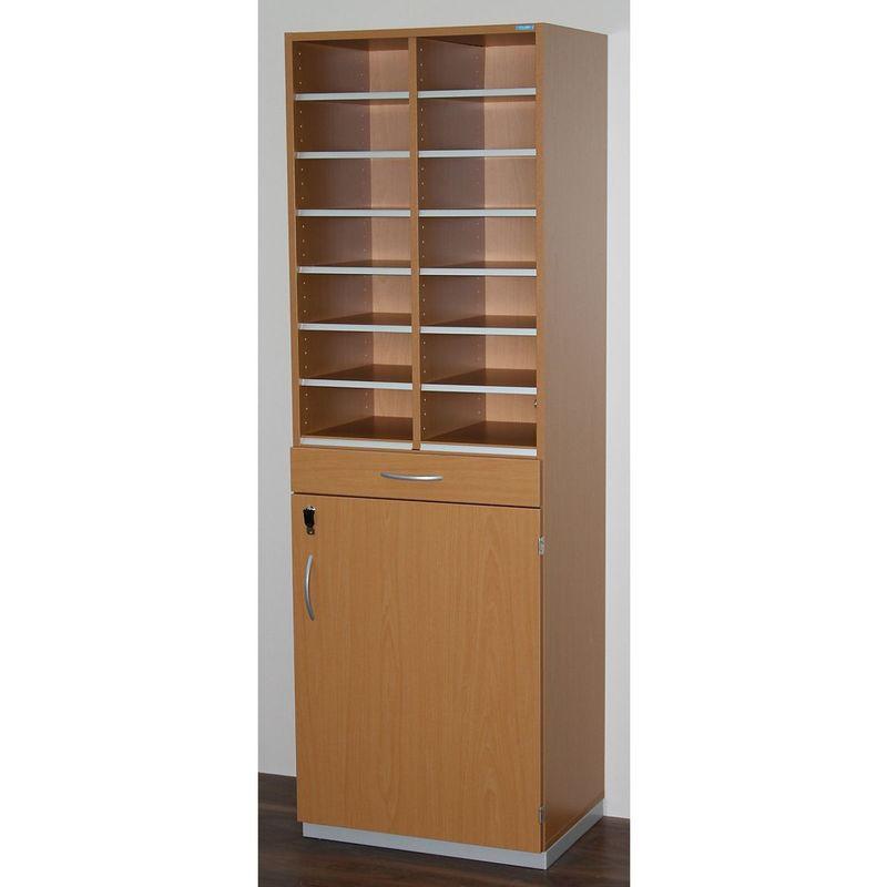 Certeo - OFFICE AKKTIV Bloc multicases, modèle étroit - h x l x p 1864 x 615 x 440 mm, 14 casiers format A4 - façon hêtre - Coloris: Façon hêtre