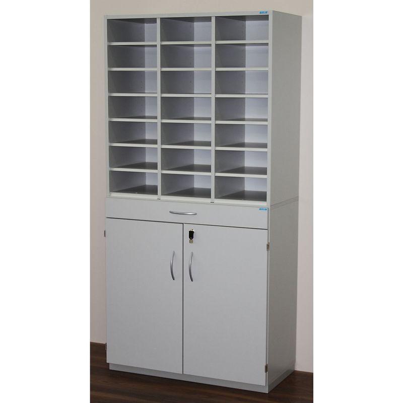 Certeo - OFFICE AKKTIV Bloc multicases, modèle large - h x l x p 1864 x 913 x 440 mm, 21 casiers format A4 - gris clair RAL 7035 - Coloris: Gris