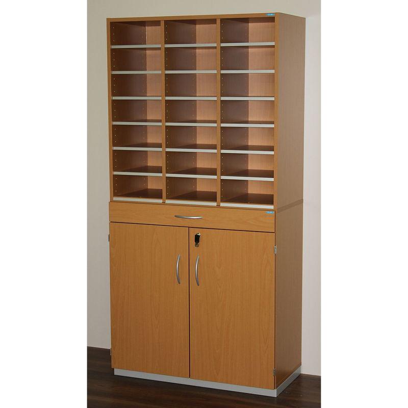 Certeo - OFFICE AKKTIV Bloc multicases, modèle large - h x l x p 1864 x 913 x 440 mm, 21 casiers format A4 - façon hêtre - Coloris: Façon hêtre
