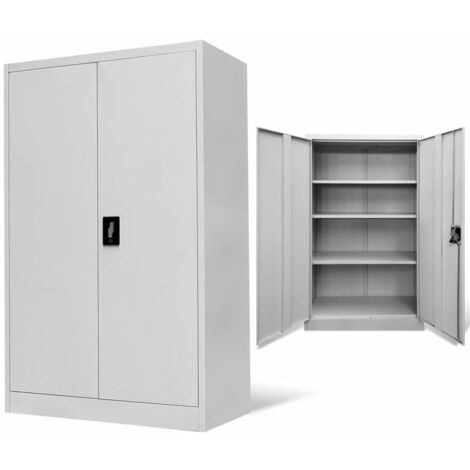 Office Cabinet 90x40x140cm Steel Grey