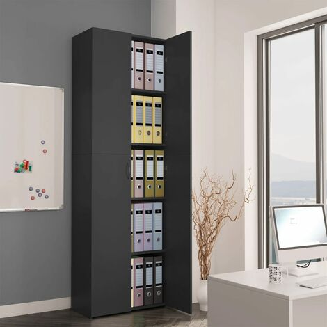 Office Cabinet Grey 60x32x190 cm Chipboard