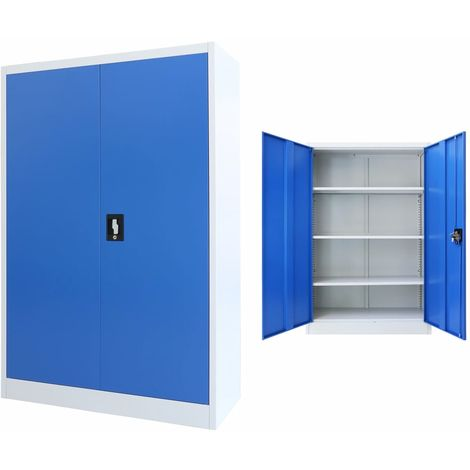 Office Cabinet Metal 90x40x140 cm Grey and Blue