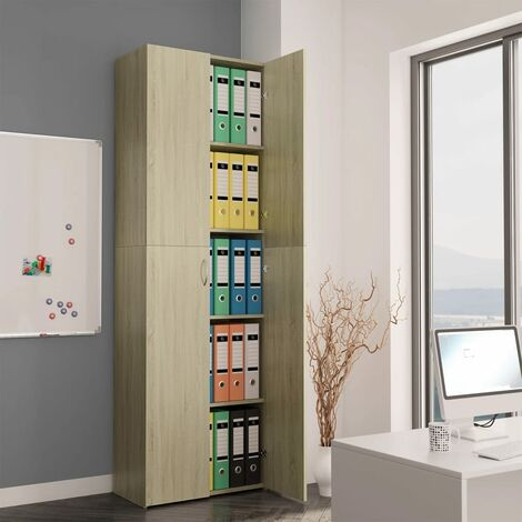 Office Cabinet Sonoma Oak 60x32x190 cm Chipboard