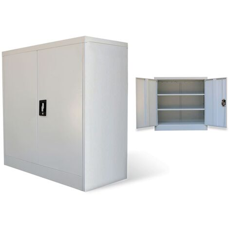 Office Cabinet with 2 Doors Grey 90 cm Steel