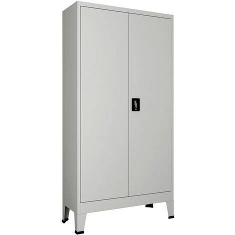 Office Cabinet with 2 Doors Steel 90x40x180 cm Grey