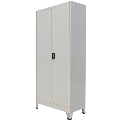 Office Cabinet with 2 Doors Steel 90x40x180cm Grey