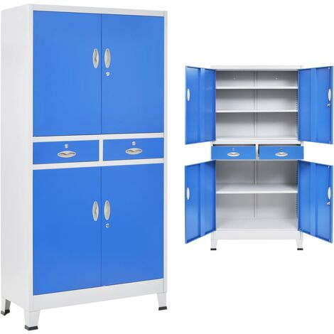 Office Cabinet with 4 Doors Metal 90x40x180 cm Grey and Blue