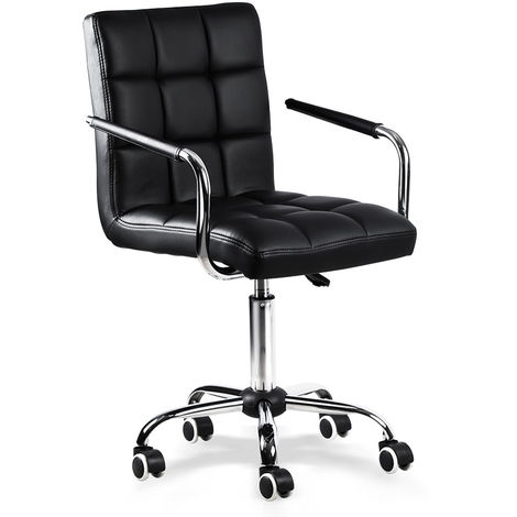 Office Chair Black Faux Leather Swivel Computer Desk Chair Adjustable - Home Office Study Room Furniture