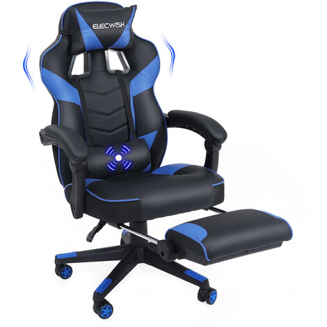 Office Chair Gaming Chair PU Leather Executive Seats Adjustable Swivel Chairs with Footrest and Lumbar Support