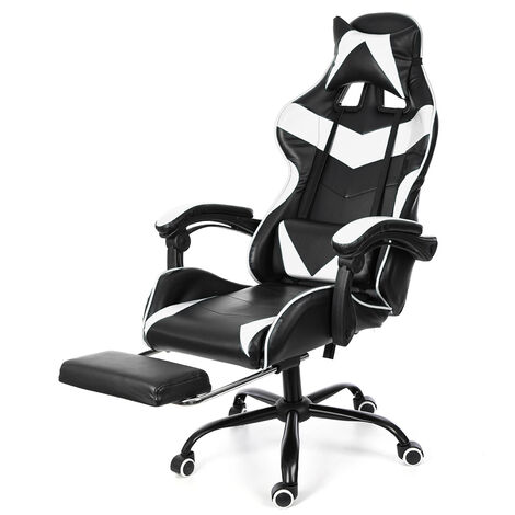 Office Chair Gaming Gaming Swivel Racing 150 ° Tilting White Mohoo