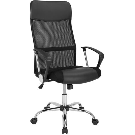 Office Chair Mesh & PU Leather - Fully Adjustable - Black