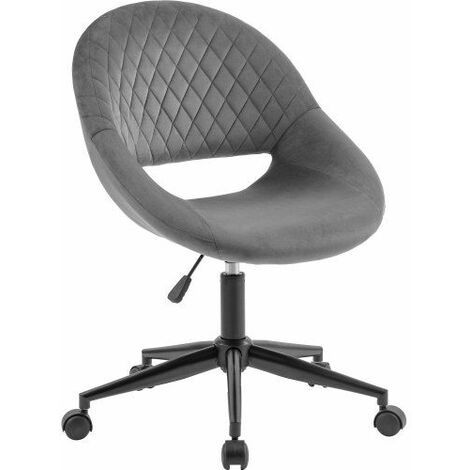 Office Chair Swivel Desk Chair with Armrest Computer Chair Bedroom Armchair Adjustable Height ( Grey/Velvet )