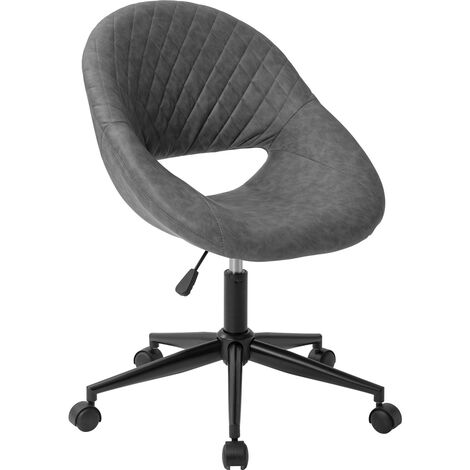 Office Chair Swivel Desk Chair with Armrest Computer Chair Bedroom Armchair Adjustable Height ( Retro grey/PU )