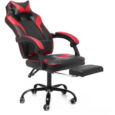 Office Chair w / Footrest Executive President Racing Gaming Computer Chair Adjustable Swivel Leather 135 ¡ã Recliner Armchair Hasaki Blue