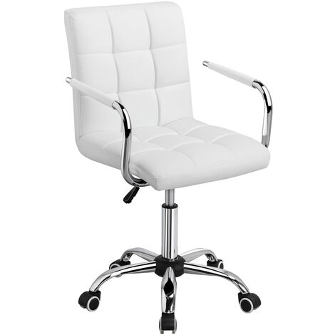 Office Chair White Faux Leather Swivel Computer Desk Chair Adjustable - Home Office Study Room Furniture