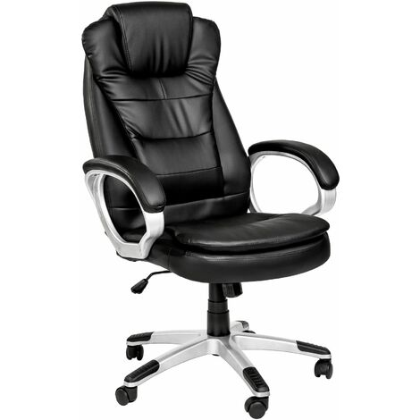 Office chair with double padding - desk chair, computer chair, ergonomic chair - black