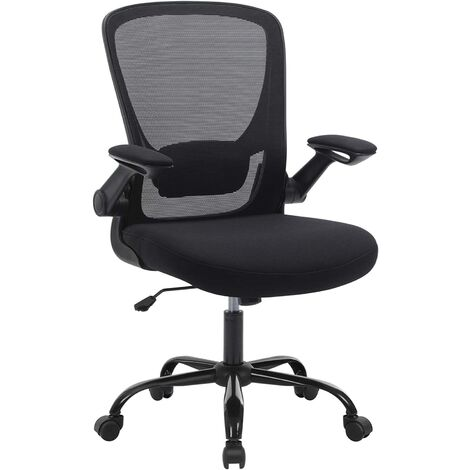 Office Chair with Folding Armrest, Desk Mesh Chair, Ergonomic Computer Chair, 360° Swivel Chair, Adjustable Lumbar Support, Space-Saving, Black OBN37BKUK - Black