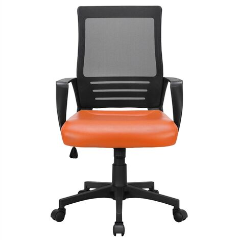 Office Chair with Leather Padded Seat and Mesh Back Ergonomic Desk Chair with Lumbar Support