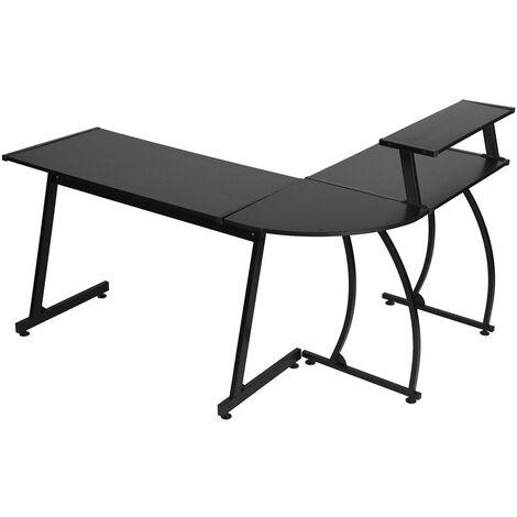 Office corner desk in black wood
