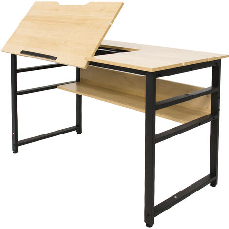 Office Desk Drafting Drawing Table Adjustable Computer Desk Tiltable with Storage Shelf