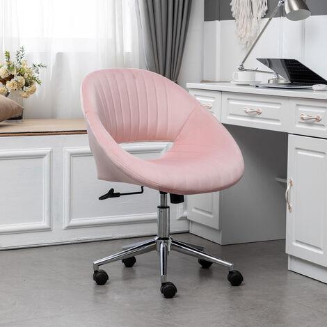 Office Luxury Velvet 360°Swivel Rocking Chair Computer Desk Seat, Pink