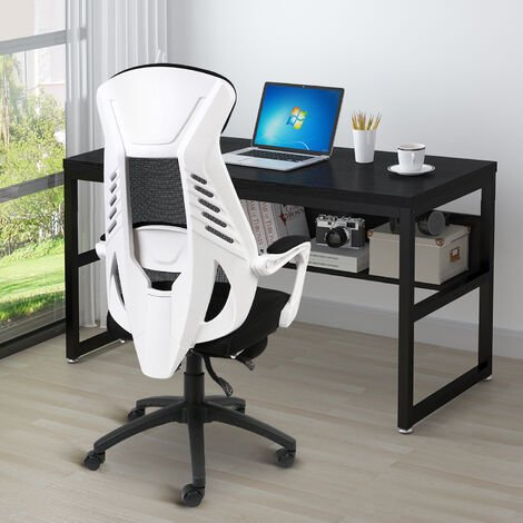 """main image of """"Office Mesh chair Swivel Recliner Chair with High Back PC Racing Computer Desk Chairs Lumbar Support Black&White"""""""