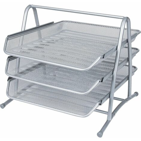 Offis Wire Mesh 3-Tier Letter Tray Silver