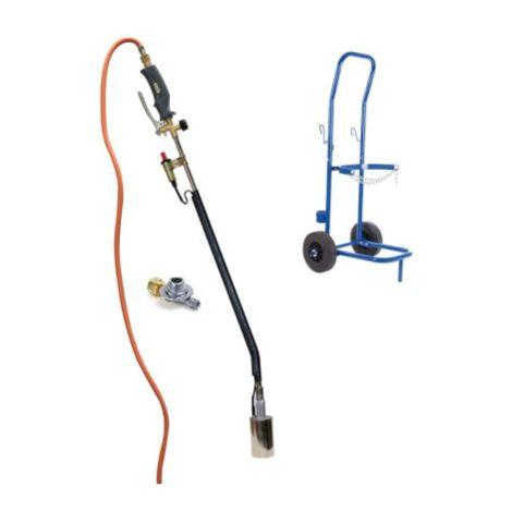 Offre d'été Brûleur à gaz avec piézo, tuyau de gaz de 5 mètres, régulateur de pression et chariot pour bouteille de gaz