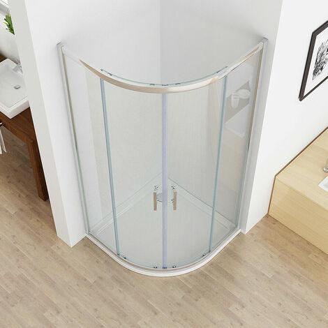 Offset Quadrant Sliding Door Shower Enclosure Corner Cubicle 6mm Nano Easy clean Glass