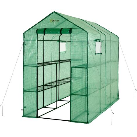 Ogrow 2 Tier 12 Shelf Portable Large Walk In Garden Greenhouse | Outdoor Clear Green Polyethylene Plastic Grow House