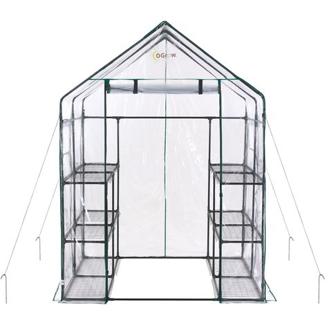 Ogrow 3 Tier 12 Shelf Portable Large Walk In Garden Greenhouse | Outdoor Clear PVC Plastic Grow House